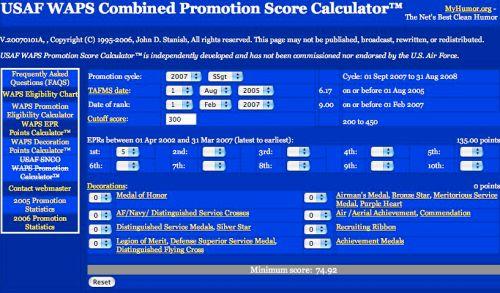 WAPS Combined Promotion Score Calculator