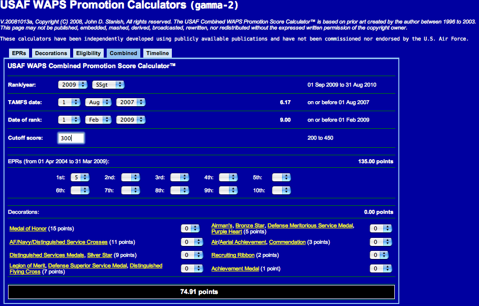 Usaf waps promotion calculators a monologue about changes to the