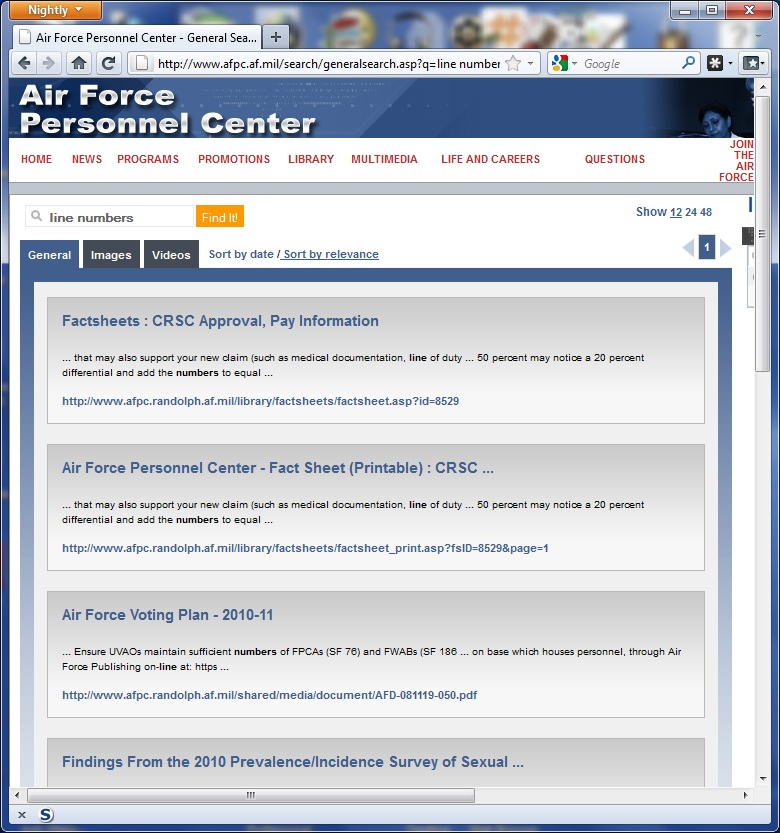Line Numbers Don't Show in AFPC Public Site Search | USAF WAPS Promotion Calculators